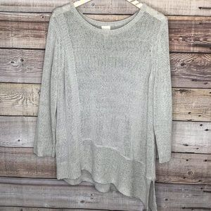 Chicos Open Knit Sweater 3/4 Sleeve Silver Size 3